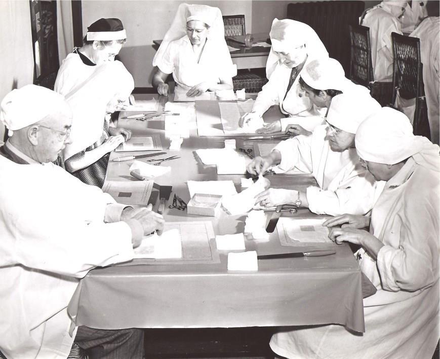 Red Cross Gauze and Bandage Volunteers.